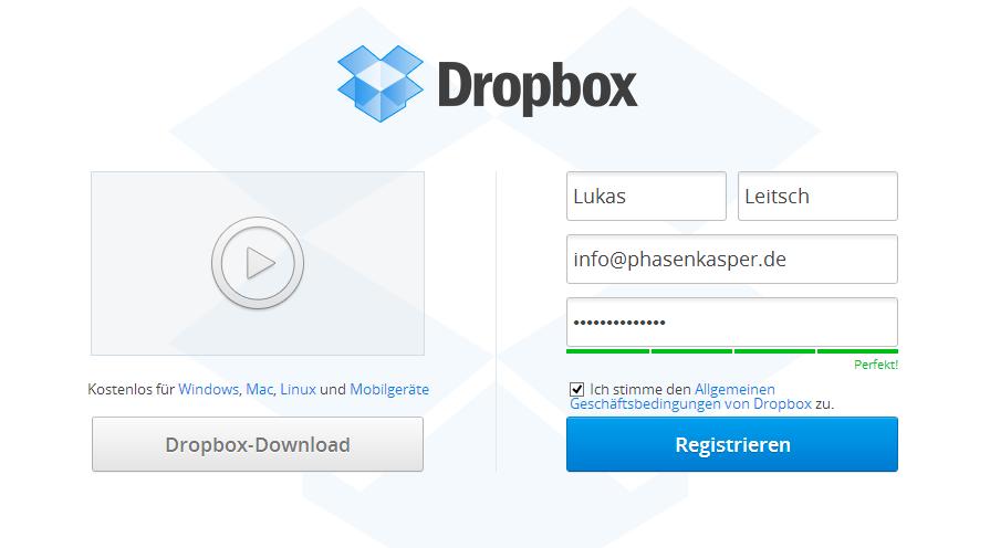 dropbox-webseite-registrieren
