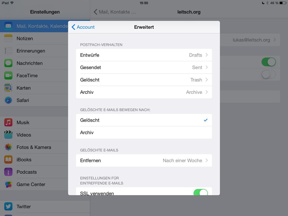 Mail-Archiv unter iOS auswählen